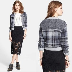 Free People | Knit Zip-Up Sweater Grey Plaid